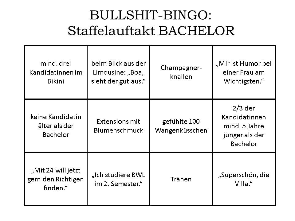 Bachelor Bullshit Bingo